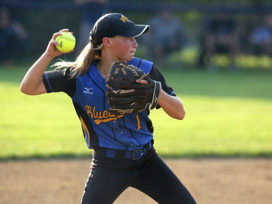 Martensdale-St. Marys' Jayda Gay prepares to fire the ball across the diamond to first base.