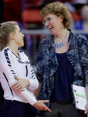 Lake Country Lutheran head coach Janet Bahr talks with Jillian Glyzewski (1) at the end of a timeout against Regis in the Division 3 championship match at the WIAA State Girls Volleyball Tournament at the Resch Center on Saturday, November 4, 2017 in Ashwaubenon, Wis. Lake Country won the championship, 3-1.Adam Wesley/USA TODAY NETWORK-Wisconsin