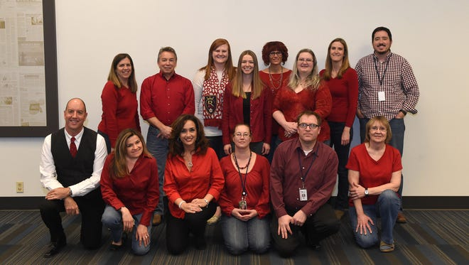 Some RGJ Media staffers show support on National Wear Red Day.