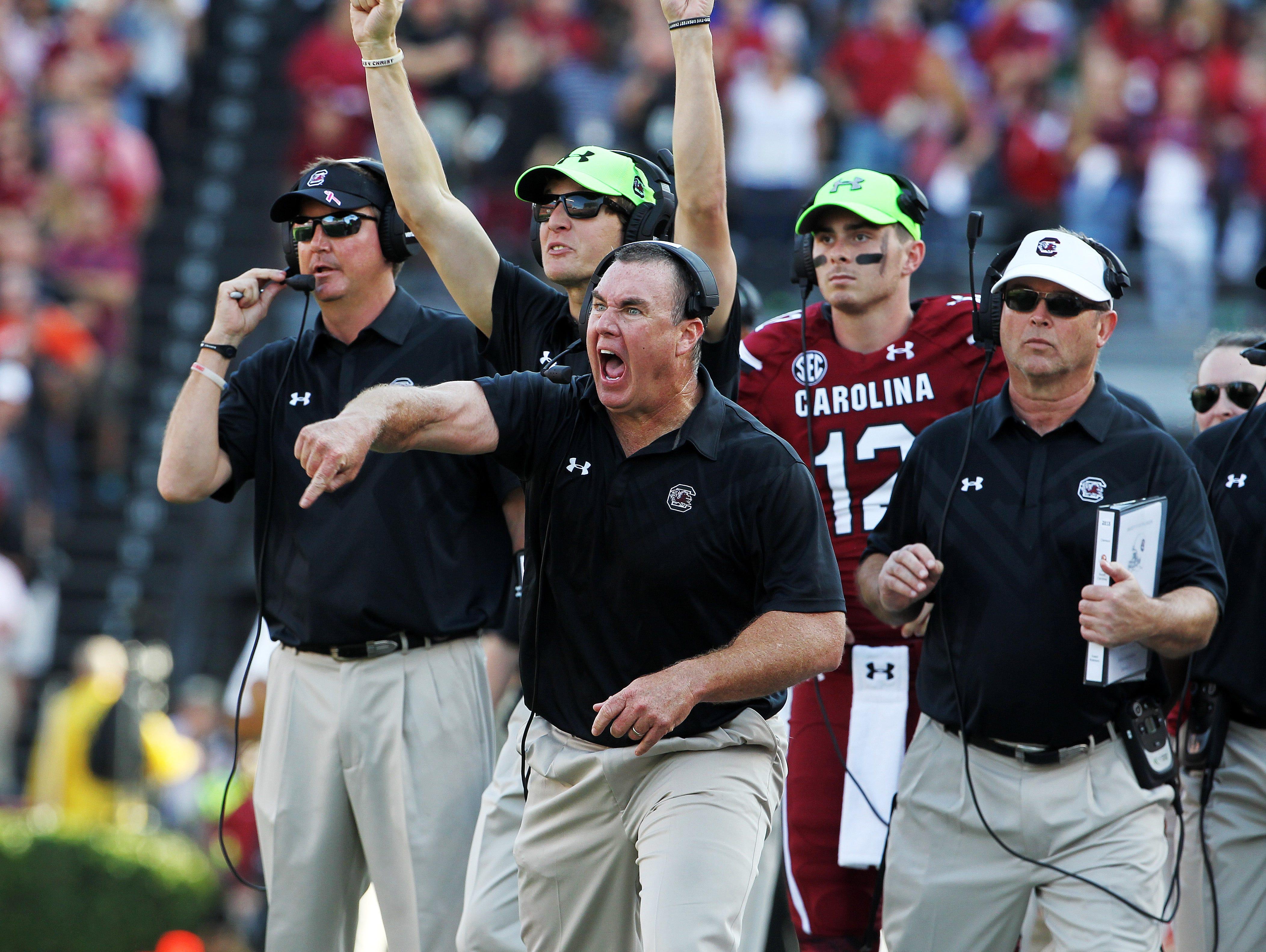 South Carolina interim head coach Shawn Elliott yells out instructions in the second half at Williams-Brice Stadium, Saturday, November 28, 2015.