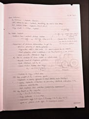 "A photograph of Katrina ""Rena"" Sletten's notebook shows"