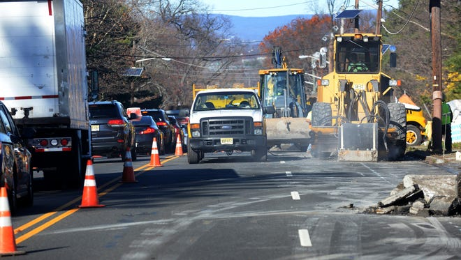PSE&G conducts a gas line installation on Route 23, also known Pompton Avenue in Cedar Grove, that forced lane closures in November 2015.