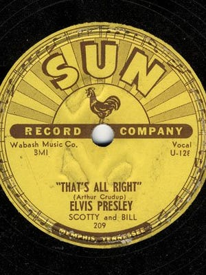 """Sun Records 45 of Elvis Presley's """"That's All Right, Mama"""""""
