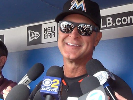 Don Mattingly takes questions from local media during his first season as manager of the Miami Marlins.