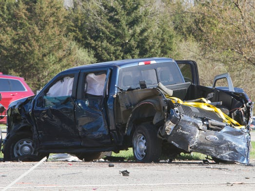 A Ford pickup truck was among the vehicles involved