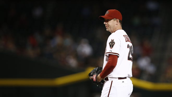 Arizona Diamondbacks closer Brad Ziegler picks-up a save against the San Diego Padres in the 9th inning on Friday, June 19, 2015 at Chase Field in Phoenix, AZ.