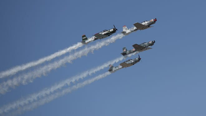 The Desert Rats perform air stunts during Luke Days at Luke Air Force Base on March 17, 2018 in Glendale, Ariz.