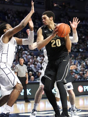 Purdue center A.J. Hammons (20) has not yet announced whether or not he will return to the Boilermakers for his senior season.