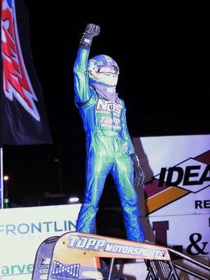 Justin Grant, California, celebrates his USAC Sprint feature win at 34 Raceway on Saturday.