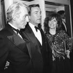 "FILE - In this Feb. 18, 1985 file photo, Jill St. John, right, with Robert Wagner, center, and Rod McKuen, left, attend a party for ""Night of 100 Stars II,"" in New York. McKuen, the husky-voiced ""King of Kitsch"" whose music and verse recordings won him an Oscar nomination and made him one of the best-selling poets in history, has died on Thursday, Jan. 29, 2015. He was 81. (AP Photo/Rene Perez, File)"