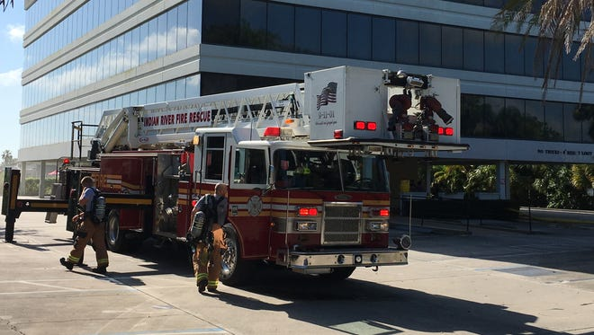 Indian River County Fire Rescue crews put out a fire on the third floor of the Univest building in the 2700 block of Indian River Boulevard in Vero Beach on Saturday.