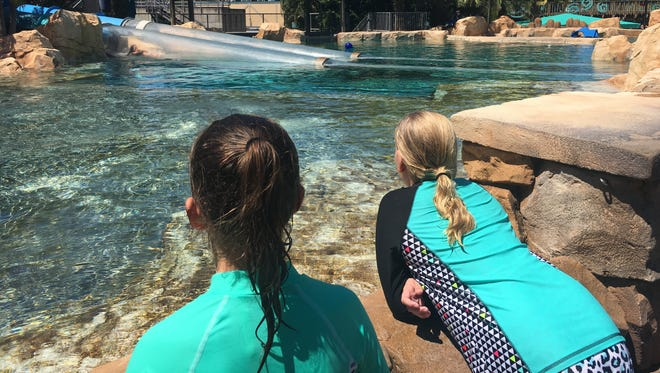 Jennifer Trefelner took her daughter, Olivia, (right) and her friend to Aquatica in Orlando.