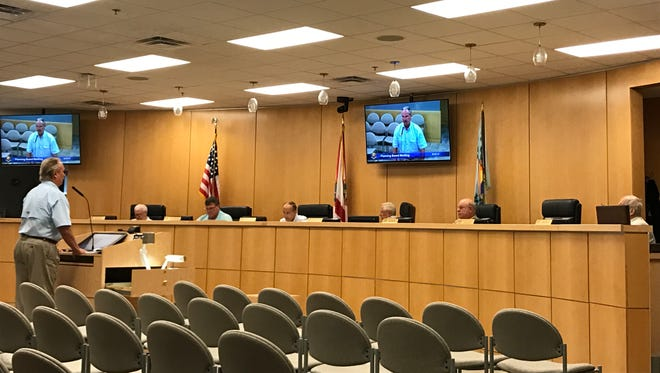 Marco Island Public Works Director Tim Pinter presents an illicit discharge stormwater management ordinance  to the Planning Board on Friday, July 7. The ordinance failed 3-3.