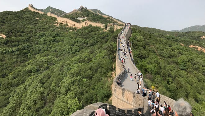 Hundreds of people from all over the world come hike the Badaling section of the Great Wall of China on May 29, 2017.