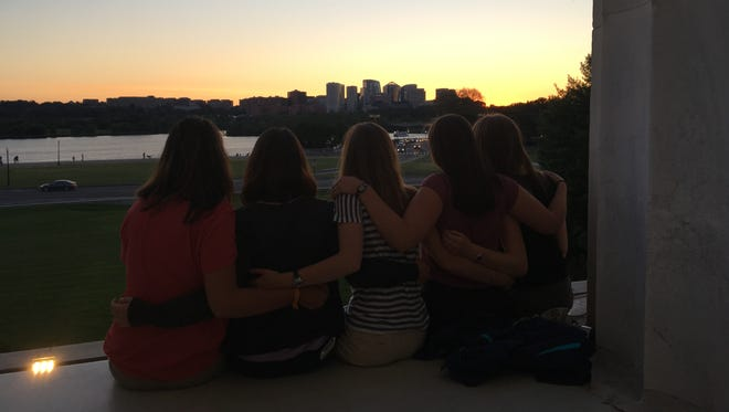 Rachel Balcerak admires Washington D.C. from the back of the Lincoln Memorial with friends she made at National Youth Science Camp. From left: Ellie L'Heureux from Nebraska, Andrea Dahl from Kanas, Clara Hoffman from Vermont, Balcerak , and Devin Ferri from Idaho.