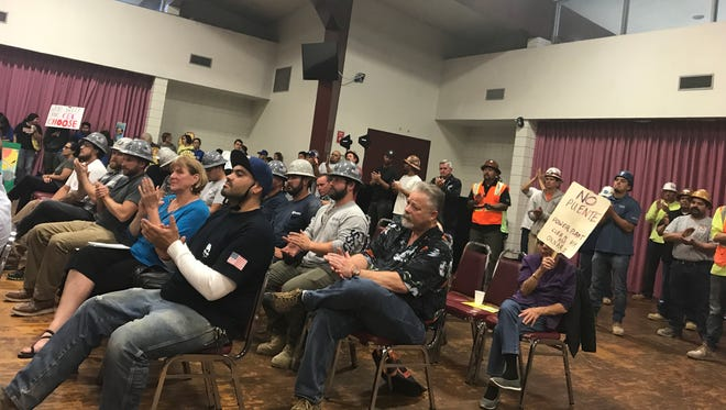 More than 100 people attended a public hearing on a proposal to build a power plant in Oxnard. Some were from labor unions representing the construction industry.