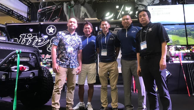 Pictured from left: Kraig Camacho; GVB Sports & Events Destination specialist, Nakaba Karube; CEO of Elite Grips, Yoshito Kishimoto; President of XYZ Fitness, Tom Akigami; proprietor of Upshift Ent. /Event Director of Trench Challenge, Hiroshi Kaneko; GVB Japan Office Sales Manager all pictured at Sportec Japan.