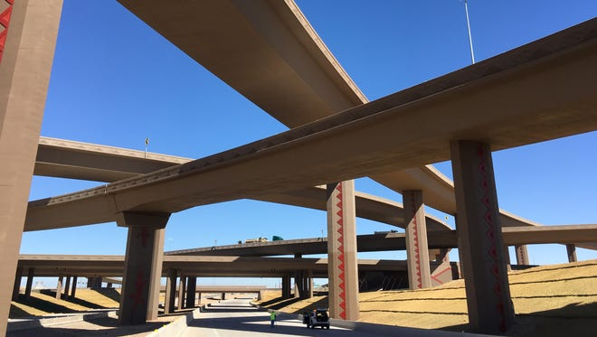 The newly completed south half of the interchange connecting I-10 and the Loop 303 opened on Oct. 8 and 9, 2017.