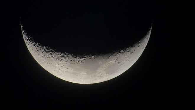 Waxing crescent moon taken by Cincinnati Observatory member Stephen DiCiero.