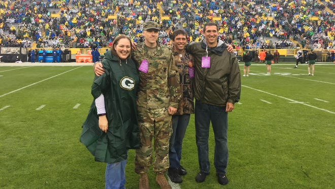 Natalie and Dustin Wenzel were honored as part of the Green Bay Packers' Operation Fan Mail program on Sunday, Oct. 22, 2017. Dustin Wenzel's brothers, Cody and Mitch Witzeling, also attended.