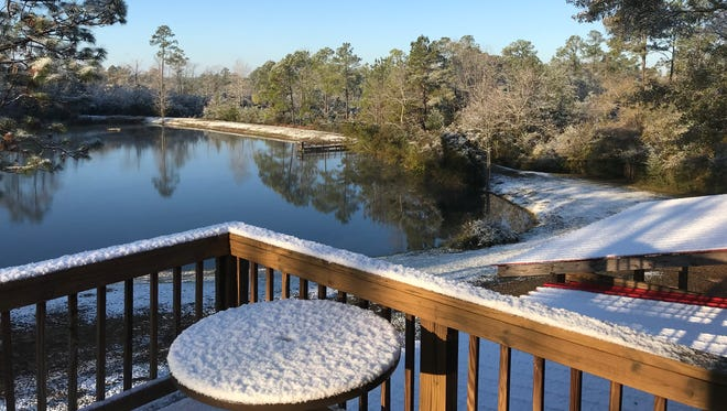 Jim Porter woke up Dec. 9 to this not-so-typical scene at his home in Molino. The Pensacola region may again get the chance of light snow flurries starting late Tuesday afternoon.
