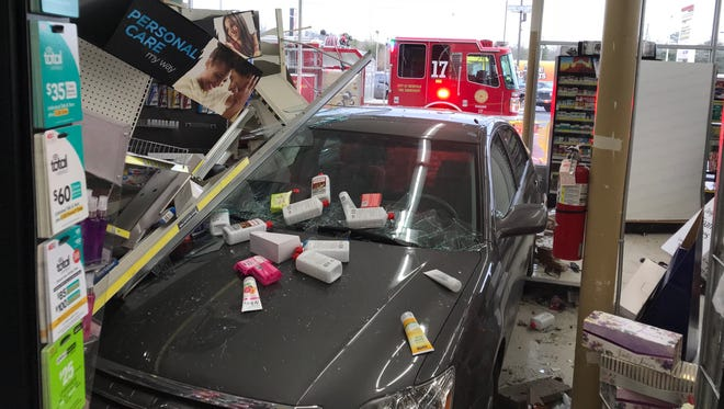 A car crashed into the Dollar General store at 5725 Western Ave. in Knoxville on Monday, Jan. 22, 2018.