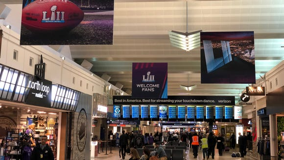 A general view of Super Bowl LII signage at Terminal