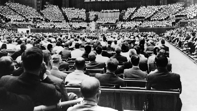 Billy Graham Crusade at the Indiana State Fairgrounds Coliseum in 1959.