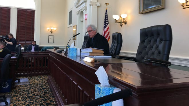 Vermont Superior Court Judge Thomas Carlson presides over court proceedings in the EB-5 civil case on Monday, March 19, in Hyde Park.