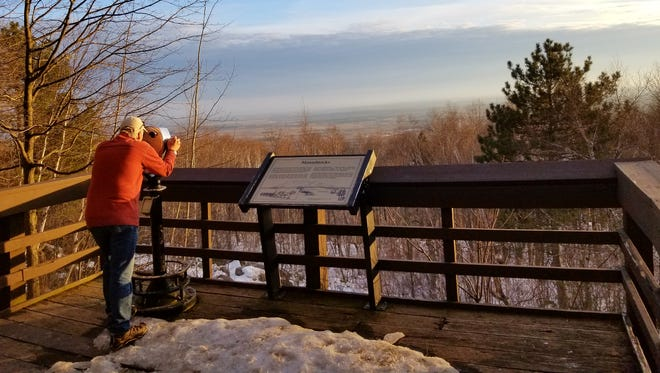 A viewing platform near the summit at Rib Mountain State Park offers vistas to the southwest.