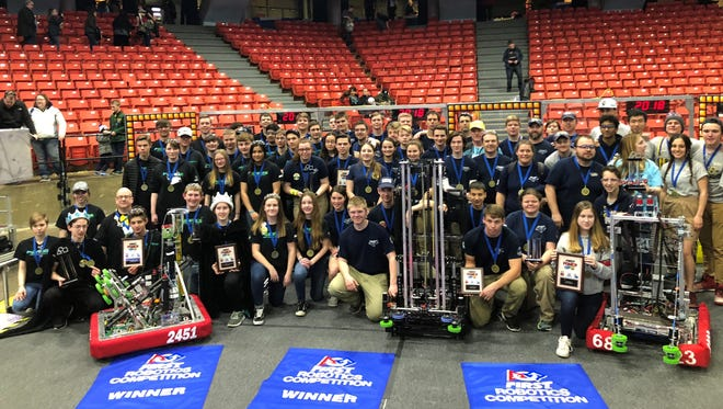 Mountain Home High School's robotics team Bomb Squad poses for a picture in Chicago recently after winning the Midwest Regionals competition. Next, the team heads to Houston on April 18 for the world championship.