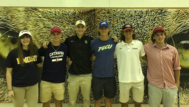 Canterbury held a signing ceremony for, from left, Hana Keith (Emory volleyball), Mason Burge (Catawba lacrosse), Max Waldau (Brown soccer), Levi Shuck (FGCU baseball), Nick Vanderhoef (Barry baseball) and Devan Devost (Arkansas State rugby) on Wednesday, April 25, 2018.
