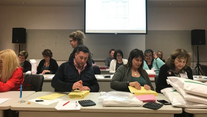 Election workers on May 1 process the ballots of the Oxnard special election.