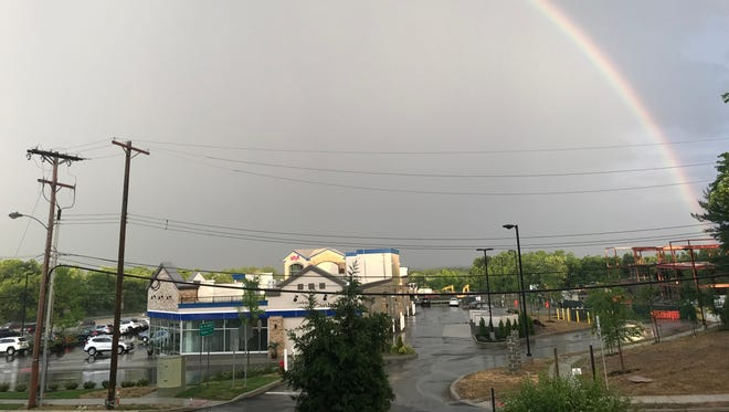 A rainbow appears over the construction site at Coral May Plaza on Route 18 and Hillsdale Road in East Brunswick. The project is one of many in the township that either are being negotiated, approved for construction, under construction or recently opened.