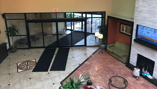 The lobby of the Ramada Plaza Hotel in summer 2017.