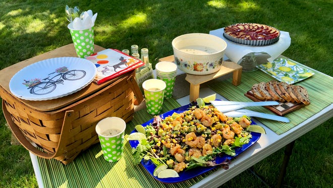 Shrimp salad, cucumber soup and plum tart make for an appealing summer picnic meal.