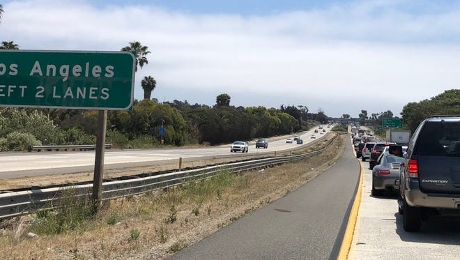 Traffic on southbound Highway 101 into Ventura was backed up for miles midday Sunday due to a multi-vehicle collision that blocked two lanes for a time.