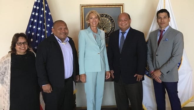 U.S. Education Secretary Betsy DeVos meets with Guam Department of Education officials led by Superintendent Jon Fernandez. This week's meeting, at the request of Del. Madeleine Bordallo, discussed efforts to remove federal specific conditions on Guam DOE's financial management.
