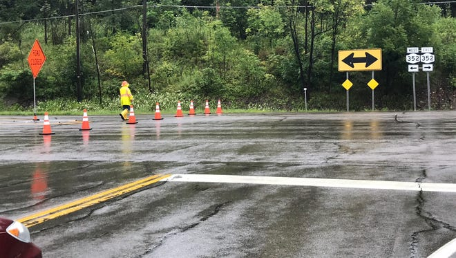 Route 352, near Big Flats, was closed Tuesday due to flash flooding.