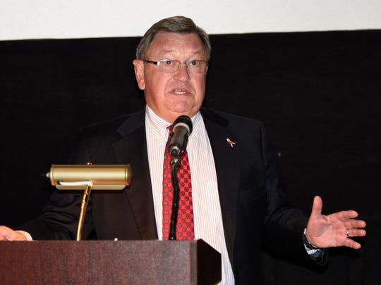 "Retired Brig. Gen. John Kulhavi gives opening remarks during the screening of ""ENLISTED."""