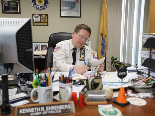 Kenneth R. Ehrenberg is the Paramus Chief of Police, as well as the Chief of the Paramus Fire Department.  He is shown here doing paper work at his desk.  Wednesday, January 3, 2018