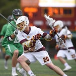 Salisbury's Nathan Blondino fires a shot for one of his six goals of the day against York College. Salisbury won 16-4.