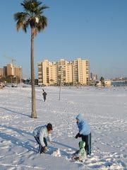 At Cole Park on Dec. 25, 2004 Shelsey Sanchez, 13 (left),