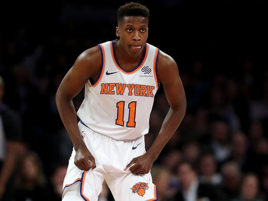 Frank Ntilikina of the New York Knicks lines up for defense in the first half against the Brooklyn Nets at Madison Square Garden.