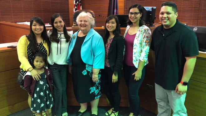 Harry S. Truman Elementary School students in Mock Trial are pictured at the Superior Court of Guam with coaches and Chief Justice of Guam, Katherine Maraman.