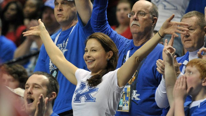 Actress Ashley Judd during the first half of the SEC Conference Championship game between the Arkansas Razorbacks and the Kentucky Wildcats on March 15. She called out Internet trolls who threatened her with rape after she tweeted about an SEC basketball tournament.