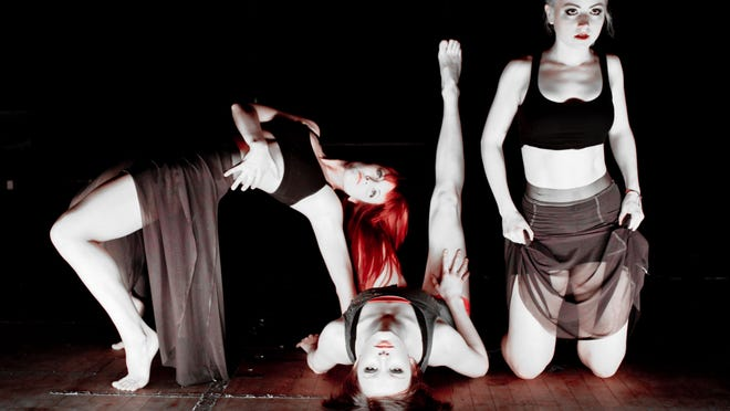 Contemporary jazz dance company Exhale Dance Tribe celebrates its first decade with a pair of concerts, Feb. 7-8 in the Aronoff Center's Jarson-Kaplan Theater, 650 Walnut St., downtown. Seen in this 2011 photo are company members Katie Farry, Maggie Westerfield and Valerie Diehl.