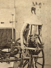 The mechanical man at the front of the Steam King, around 1875.
