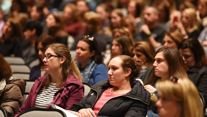 Residents asked the Pequannock Board of Education to slow the reconfiguration process down at the meeting at Pequannock Township High School on March 27, 21017. On Thursday the board announced the plan was on hold.