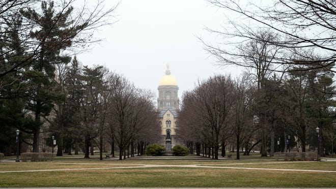 Mar 19, 2020; Notre Dame, Indiana, USA; General view of the University of Notre Dame campus. Mandatory Credit: Matt Cashore-USA TODAY NETWORK